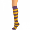 Kids Striped Knee Socks - Purple/Gold Yellow