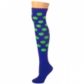 Polka Dot Knee Socks - Blue w/ Lime Dots