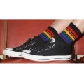 Rainbow Striped Low Cut Socks -Large (Black)