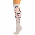 Star Knee High Socks - White w/ Blue and Red Stars