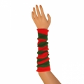 "Striped Arm Warmers - Green/Red (16"")"