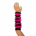"Striped Arm Warmers - Hot Pink/Black (16"")"