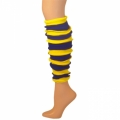 "Striped Leg Warmers - Blue/Lemon Yellow (22"")"