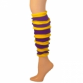 "Striped Leg Warmers - Purple/Gold Yellow (22"")"