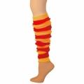 "Striped Leg Warmers - Red/Gold Yellow (22"")"