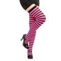 Striped Thigh High Socks - Black/Hot Pink