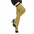 Striped Thigh High Socks - Black/Yellow