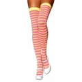 Striped Thigh High Socks - Lemon Yellow/Pink