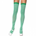 Striped Thigh High Socks - White/Green