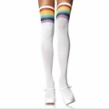 Striped Thigh Highs - White with Rainbow
