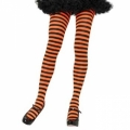 Striped Tights - Black/Neon Orange