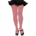 Striped Tights - White/Red (Queen 1X-2X)