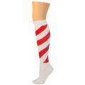 Swirl Striped Knee Socks - White/Red